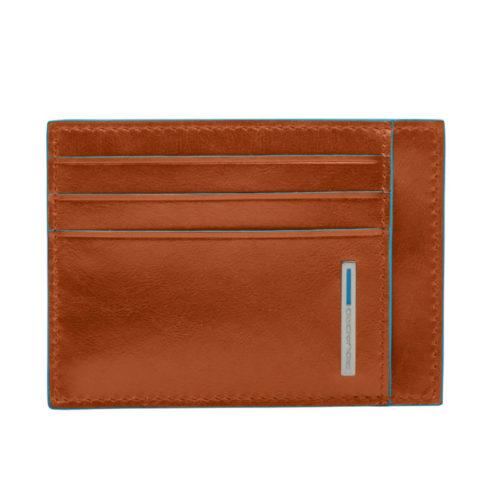Porta carte di credito Piquadro in pelle Blue Square arancio