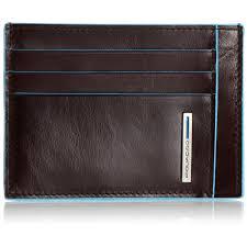 Porta carte di credito Piquadro in pelle Blue Square mogano