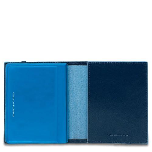 Porta carte di credito Piquadro tascabile blu dett 1