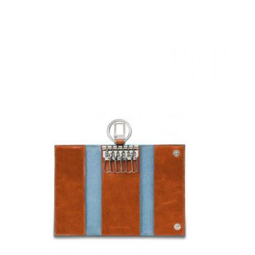 Portachiavi Piquadro per porta blindata con moschettone Blue Square arancio interno