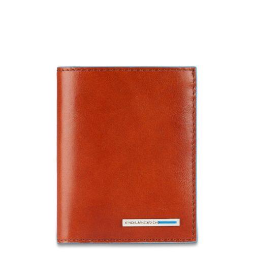 Portafoglio uomo Piquadro con porta carte di credito e volantino Blue Square arancio