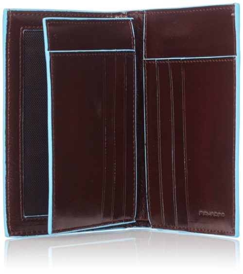Portafoglio uomo verticale Piquadro con porta documenti Blue Square interno mogano