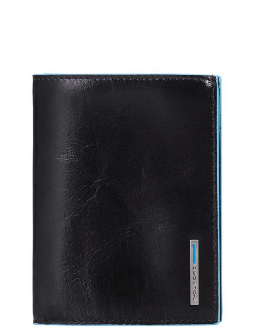 Portafoglio uomo verticale Piquadro con porta documenti Blue Square nero