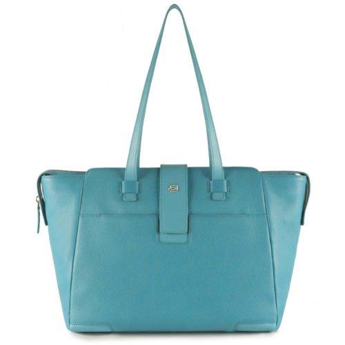 Shopping bag Piquadro porta computer Azzurra