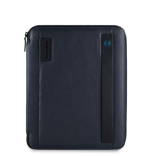 Portablocco Piquadro sottile formato A4 con chiusura a zipe porta penne Pulse 1