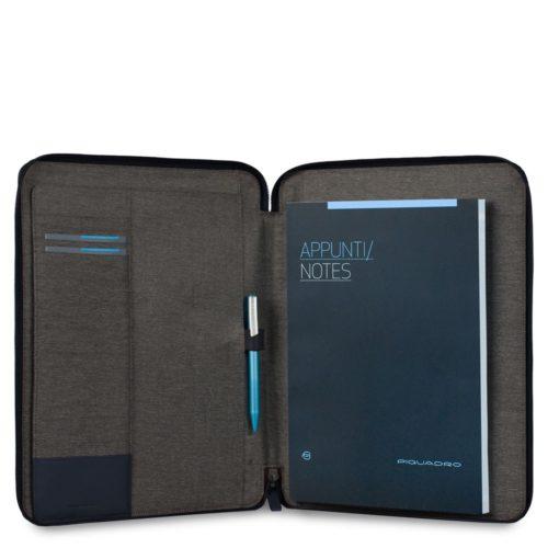 Portablocco Piquadro sottile formato A4 con chiusura a zipe porta penne Pulse 2