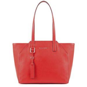 Shopping bag Piquadro Muse rossa con porta computer estraibile