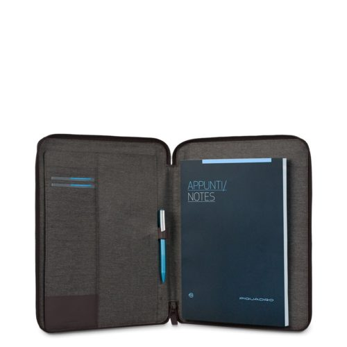 Portablocco Piquadro sottile formato A4 con chiusura a zipe porta penne Pulse 3