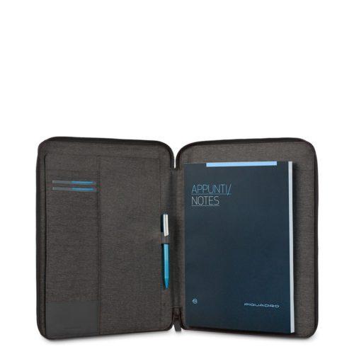 Portablocco Piquadro sottile formato A4 con chiusura a zipe porta penne Pulse 4
