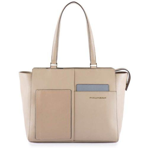 Shopping-bag-piquadro-sabbia